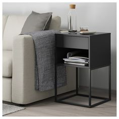IKEA - VIKHAMMER, Nightstand, black, The drawers close silently and softly, thanks to the integrated soft-closing function. Metal Nightstand, Bedside, Bedroom Furniture, Bedroom Decor, High Beds, Painted Drawers, Bar Seating, Affordable Furniture, Interior