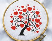 Love tree cross stitch pattern, Counted cross stitch pattern, Instant Download, Free shipping, Cross-Stitch PDF, Valentine's Day, MCS084