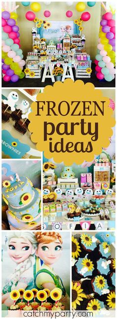 What a beautiful Frozen Fever girl birthday party! See more party ideas at CatchMyParty.com!