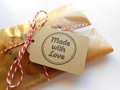 Kraft Tags - Hand Stamped - Made with Love - Set of 10 - Free US Shipping. $4.00, via Etsy.