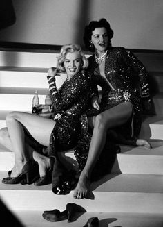 Not published in LIFE. Marilyn Monroe and Jane Russell on the set of 1953's Gentlemen Prefer Blondes.