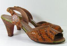 2b9de5a9ee74 slingback sandals womens 5.5 cobra snake skin shoes brown pumps strappy  vintage heels vintage