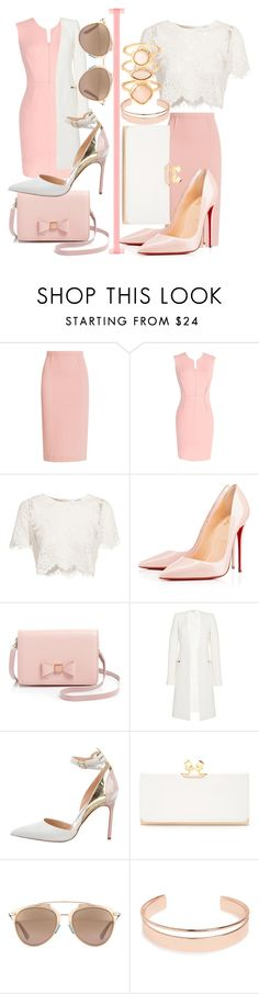 """""""Creamy Twins"""" by egordon2 ❤ liked on Polyvore featuring Roland Mouret, Glamorous, Christian Louboutin, Ted Baker, Thierry Mugler, Manolo Blahnik, Christian Dior, Leith, Monsoon and twins"""