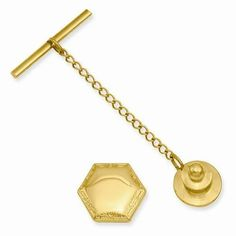 """NEW KELLY WATERS HEXAGON POLISHED TIE TACK ENGRAVABLE .50"""" X .60""""  GIFT BOXED #KellyWaters"""