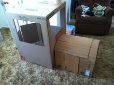 Cardboard train - used 1 small wardrobe box, 2 medium sized moving boxes.