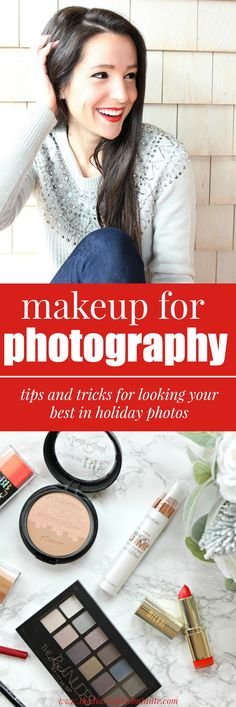 The best drugstore makeup for photography with tips and tricks for ensuring you look your best in photos. A great tutorial by a retired beauty queen for anyone looking to schedule a holiday family photo session or professional headshots in the future!