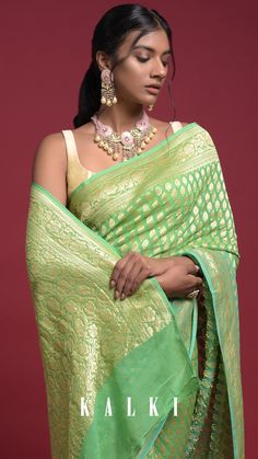 Sea green and leaf green shaded saree in georgette with weaved Moroccan jaal. It comes with weaved paisley pattern on the border and pallu. Matched with a leaf green unstitched blouse in georgette Kanjivaram Sarees Silk, Georgette Sarees, Saree Jacket Designs, Blouse Designs, Indian Attire, Indian Ethnic Wear, Saree Jackets, Green Saree, Kurti Designs Party Wear