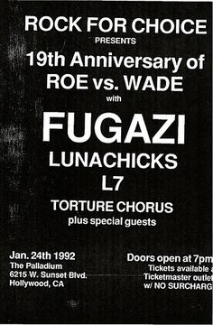 Fugazi, L7, Lunachicks punk hardcore flyer This would have been the best concert ever!!!