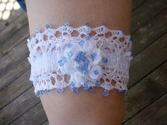 Hand Crocheted Wedding Garter Rose & Blue by GrandpaCoesRockShop, $30.00