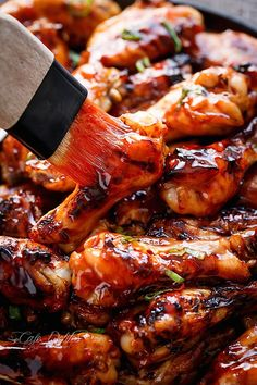Sticky Thai Chicken Wings Recipe | http://cafedelites.com