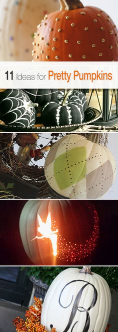 11 Ideas for Pretty Pumpkins • Lots of great Tutorials and Ideas! #DIYhalloweendecorating #halloweenpumpkins #pumpkincarving #pumpkincarvingideas #pumpkincarvingdesigns