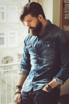 top Sexy Beard Styles To Try Beard Styles For Men, Hair And Beard Styles, Hair Styles, Barba Sexy, Sexy Bart, Style Masculin, Denim Shirt Men, Men Shirts, Poses For Men
