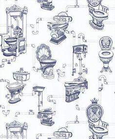 Graham & Brown Loo Loo Wallpaper Toilet Water Closet Bathroom White Blue in Home, Furniture & DIY, DIY Materials, Wallpaper Quirky Wallpaper, Blue And White Wallpaper, Toile Wallpaper, Wallpaper Decor, Graphic Wallpaper, Wallpaper Patterns, Paper Wallpaper, Kids Wallpaper, Wallpaper Toilet