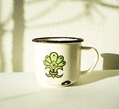 Enamelware mug Soviet Vintage USSR Floral Russian by MerilinsRetro, $13.00