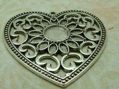 Ornate Heart Pendants, COLOURS - PACK SIZES - You Choose BUS07-13-14 @ OLGA