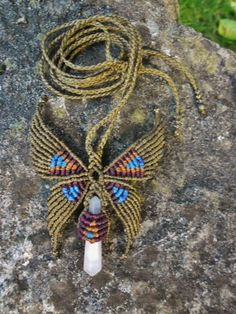 Butterfly macramé necklace with Mangano by Eltallercitonomada