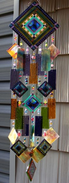 Kirks Glass Art Fused Abstract Stained Glass Wind by kirksglassart Stained Glass Art, Mosaic Glass, Fused Glass, Diy Wind Chimes, Glass Wind Chimes, Art Plastique, Mobiles, Suncatchers, Yard Art