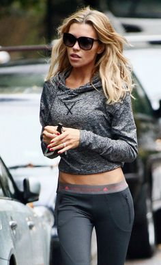 Strictly star, Abbey Clancy, sports a @Sweaty Dosweatthesmallstuff Betty top with an adidas by Stella McCartney pair of leggings. @ http://www.FitnessApparelExpress.com