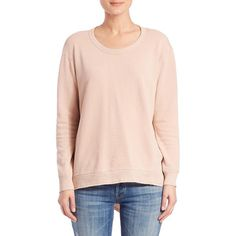 Wilt Basic Big Back Slant Sweatshirt ($150) ❤ liked on Polyvore featuring tops, hoodies, sweatshirts, apparel & accessories, putty, pink pullover, long sleeve pullover, crop top, pink long sleeve top and pink crop top