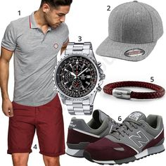 Casual summer outfit for the summer of 2018 with a gray Amaci & Sons polo shirt, Flexfit cap, wine red Indicode shorts, Fischers fritze bracelet, gray-red New Balance men's shoes and Casio Edifice chronograph.  1. Shirt► amzn.to/2KJLcly 2. Cap► amzn.to/2HZnRPn 3. Uhr► amzn.to/2FXqKdo 4. Shorts► amzn.to/2I0oRmk (-41%)  5. Armband► amzn.to/2I0z9mn 6. shoes► amzn.to/2K0vLEz Gq Mens Style, Men Style Tips, Laid Back Outfits, Mens Fashion 2018, Polo Outfit, Neue Outfits, Herren Outfit, Look Cool, Emporio Armani