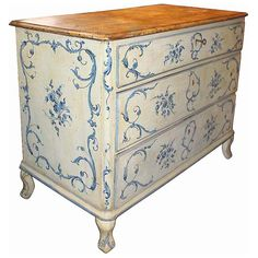 An 18th C. Italian Painted Blue & White Commode Chest Of Drawers