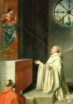 """""""The Miraculous Lactation of St. Bernard."""" This painting depicts the spiritual nourishing of St. Bernard by the milk of Our Lady, based on this legendary mystical experience: Bernard prayed before a statue of the Madonna, asking her, """"Show yourself a mother"""" (""""Monstra te esse Matrem""""). The statue came to life and and squirted milk from the breast onto the Saint's lips. Artist: Alonso Cano, A.D. 1650 h/t Fisheasters.com"""