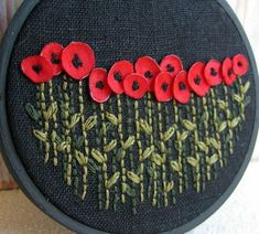 Embroidery / Red Poppies Hand Embroidered Wall Decoration by Sidereal on Etsy