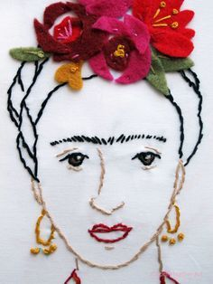 PDF Frida Kahlo embroidery pattern with felt flowers