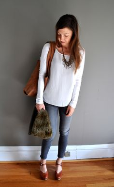 gray skinny jeans with a silky white shirt