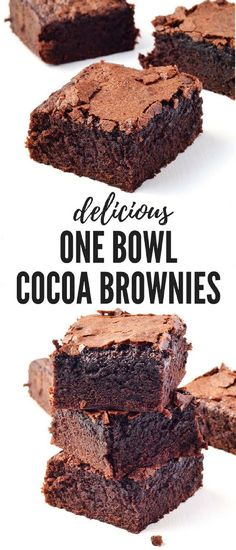 These One Bowl Cocoa Brownies are AMAZING! These big, thick fudgy brownies are S… These One Bowl Cocoa Brownies are AMAZING! These big, thick fudgy brownies are SO easy to throw together especially when you need a last minute dessert. Kakao Brownies, Cocoa Brownies, Nutella Brownies, Fudgy Brownies, One Bowl Brownies, Cake Like Brownies, Cocoa Cake, Cookie Dough Cake, Chocolate Chip Cookie Dough