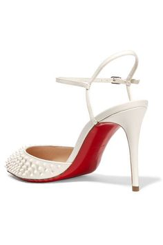 Christian Louboutin - Baila 85 Spiked Leather Pumps - White - IT35.5