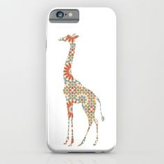 GIRAFFE SILHOUETTE WITH PATTERN phone case - A silhouette of one of the most recognizable animals in the world, the giraffe. Covered in a beautiful flower pattern, the giraffe is home of the great continent of Africa.  graphic-design digital pattern illustration vector giraffe africa flower pattern silhouette nursery kids room children