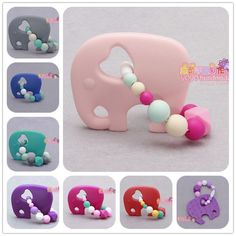 Handmade FDA BPA free Food Grade Safe Silicone Elephant Teething Ring baby teether silicone teether toy chewable beads teether