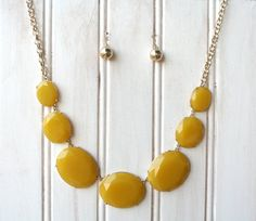 Yellow Bib Necklace and Earrings Set   Yellow Fashion by ColorGems, $36.00