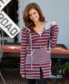 Maroon Striped Long Zip-Up www.daisyshoppe.com