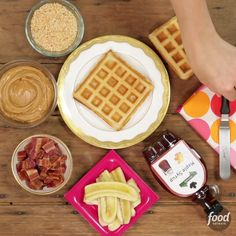 A waffle is really a blank canvas for the most delicious culinary creations. Top it with peanut butter, bananas, bacon and whatever your heart desires!