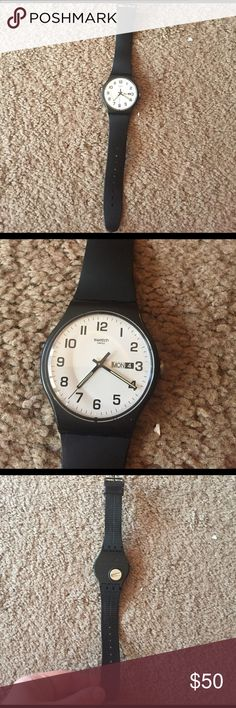 Swatch Watch Never worn and in perfect condition! Accepting all reasonable offers but no trades! Band is rubber & black. Brand is swatch. Swatch Accessories Watches