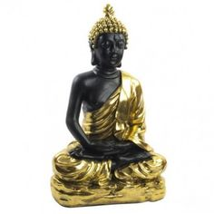 Figura decorativa 100 Buda resina negro dorado Statue, Craft, Buddha, Resin, Black, Sculptures, Sculpture