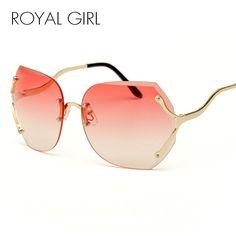130396b1fd9 Royal Girl Clear Sunglasses Women Luxury Brand Gradient Men Oversize Sun  Glasses Rimless