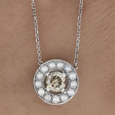 .85CT ROUND CUT BROWN DIAMOND SOLITAIRE PENDANT NECKLACE & CHAIN 14K WHITE GOLD