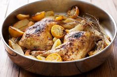 Greek Lemon Chicken-Sauté chicken in frying pan in hot butter until golden on all sides; remove to 3 quart casserole and surround with potatoes. Pour over the strained lemon juice and water. Greek Style Chicken, Greek Chicken Recipes, Greek Lemon Chicken, Roast Chicken Recipes, Greek Recipes, Pan Roasted Chicken Thighs, Slow Cooker Recipes, Cooking Recipes, Crockpot Meat