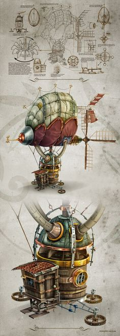 Fascinating Drawing of an old Time Air Ship. Something on the order of an Leonardo da Vinci Style.