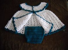 Crocheted Baby Dress with Diaper Cover, & headband 6-9month sized in white w/Pagoda Green Trim