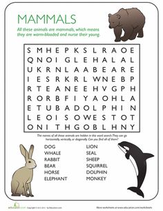 Worksheets: Animal Word Search: Mammals