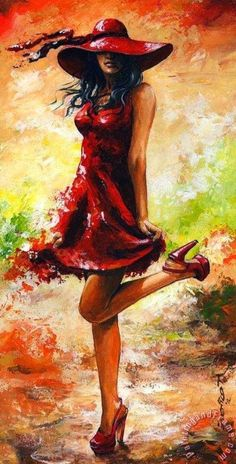 Paintings, woman paintings, Umbrellas, Still life Paintings, Still life, Ladies in Red, Hungarian Artist, Hungarian Painter, Figurative, Figurative Painter, Emerico Toth