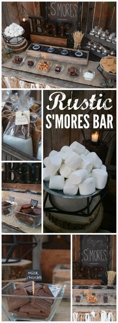 This rustic s'mores bar station was at a backyard wedding! See more party ideas at CatchMyParty.com!