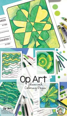 This set of Op Art Shamrock Coloring Pages will rock your St. Give students a chance to experiment with different ways to make green, then use a variety of greens to color in the Op Art Shamrocks. Saint Patricks Day Art, St. Patricks Day, St Patricks Day Crafts For Kids, St Patrick's Day Crafts, March Crafts, Art Lessons For Kids, Art Activities For Kids, Art Lessons Elementary, Art For Kids