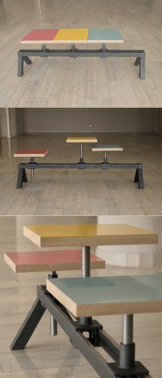 POYKE is a work stool and a three seated bench, a hybrid with adjustable seat position and height. www.yondermagnetik.com/