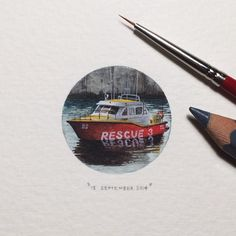 Day 258 : The National Sea Rescue Institute (NSRI) is run by 940 highly skilled, unpaid volunteers who are on standby day and night throughout the year.  28 x 28 mm. #365postcardsforants #wdc624 #miniature #watercolour #nsri #rescue #boat #capetown #lovecapetown  (at Cape Town Harbour)