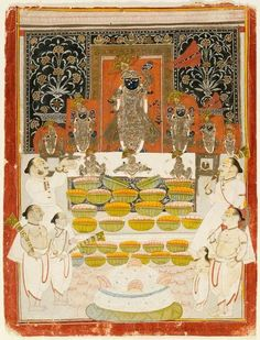 Shrinathji. Autumn Annakuta Festival is observed by donating a mountain of food, usually rice, to the temple. Nathdwara, India ca. 1882.